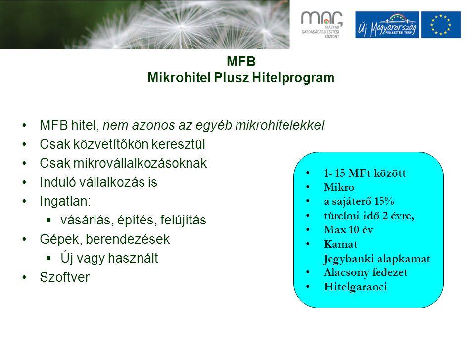 MFB Mikrohitel Plusz Hitelprogram MFB hitel, nem azonos az egyéb mikrohitelekkel Csak közvetítőkön keresztül Csak mikrovállalkozásoknak Induló vállalk