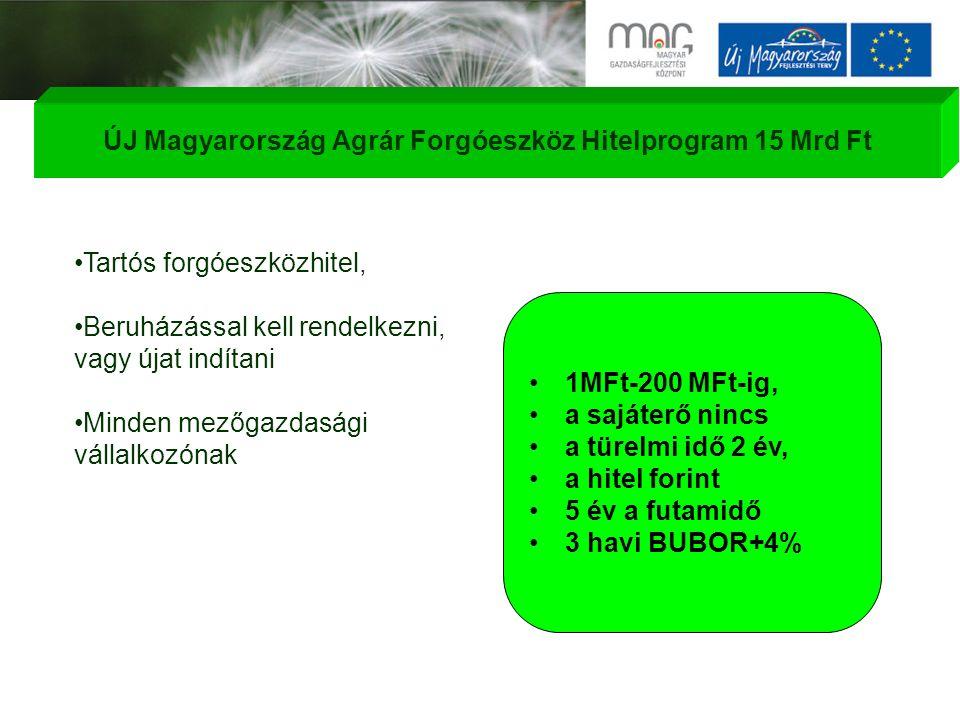 Tartós forgóeszközhitel, Beruházással kell rendelkezni, vagy újat indítani Minden mezőgazdasági vállalkozónak 1MFt-200 MFt-ig, a sajáterő nincs a türelmi idő 2 év, a hitel forint 5 év a futamidő 3 havi BUBOR+4% ÚJ Magyarország Agrár Forgóeszköz Hitelprogram 15 Mrd Ft