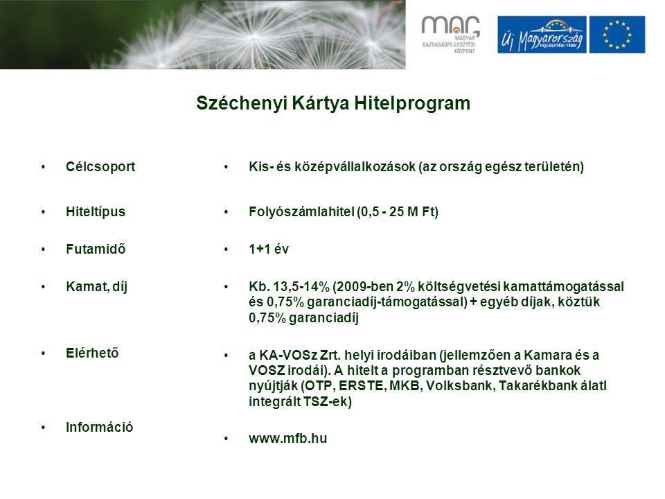Széchenyi Kártya Hitelprogram Célcsoport Hiteltípus Futamidő Kamat, díj Elérhető Információ Kis- és középvállalkozások (az ország egész területén) Folyószámlahitel (0,5 - 25 M Ft) 1+1 év Kb.
