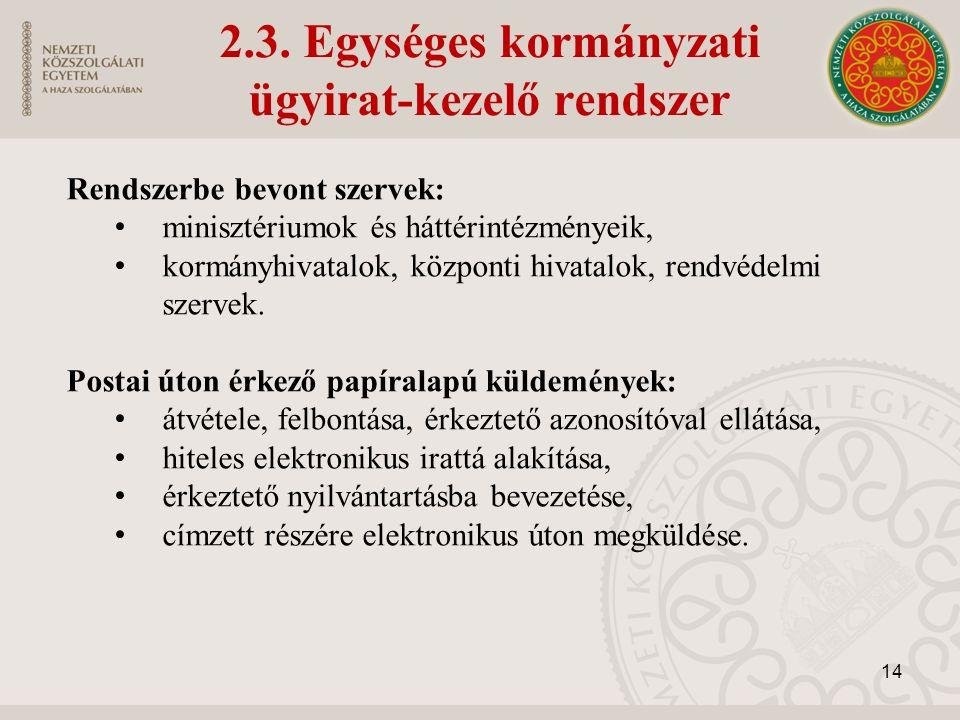 2.3. Egységes kormányzati ügyirat-kezelő rendszer Rendszerbe bevont szervek: minisztériumok és háttérintézményeik, kormányhivatalok, központi hivatalo