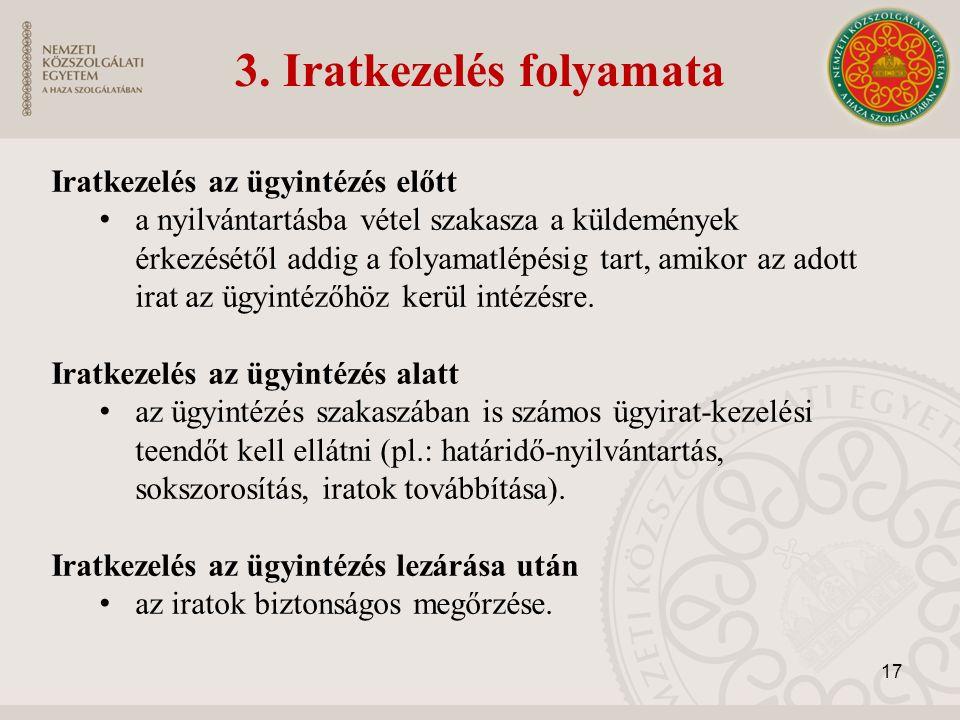 3. Iratkezelés folyamata Iratkezelés az ügyintézés előtt a nyilvántartásba vétel szakasza a küldemények érkezésétől addig a folyamatlépésig tart, amik