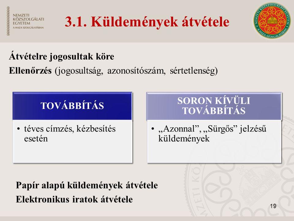3.1. Küldemények átvétele Átvételre jogosultak köre Ellenőrzés (jogosultság, azonosítószám, sértetlenség) Papír alapú küldemények átvétele Elektroniku