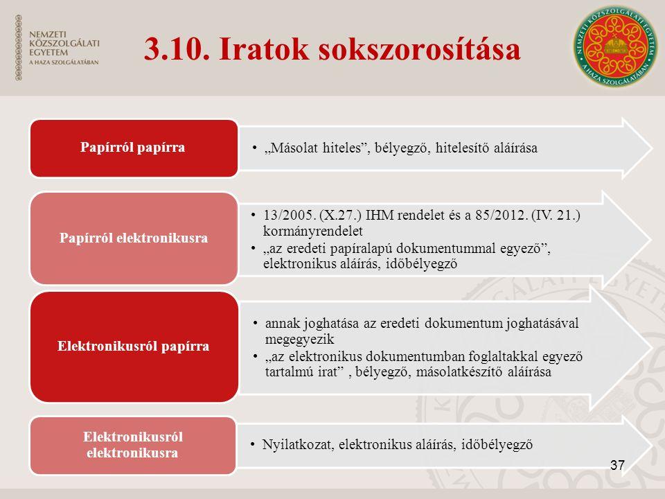 """3.10. Iratok sokszorosítása """"Másolat hiteles"""", bélyegző, hitelesítő aláírása Papírról papírra 13/2005. (X.27.) IHM rendelet és a 85/2012. (IV. 21.) ko"""