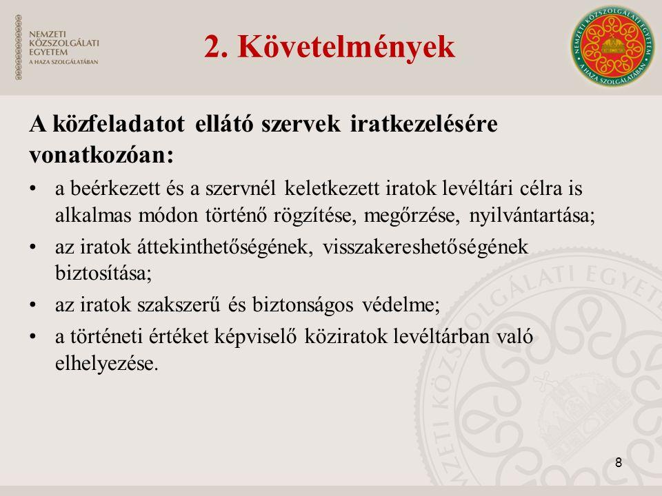 2. Követelmények A közfeladatot ellátó szervek iratkezelésére vonatkozóan: a beérkezett és a szervnél keletkezett iratok levéltári célra is alkalmas m