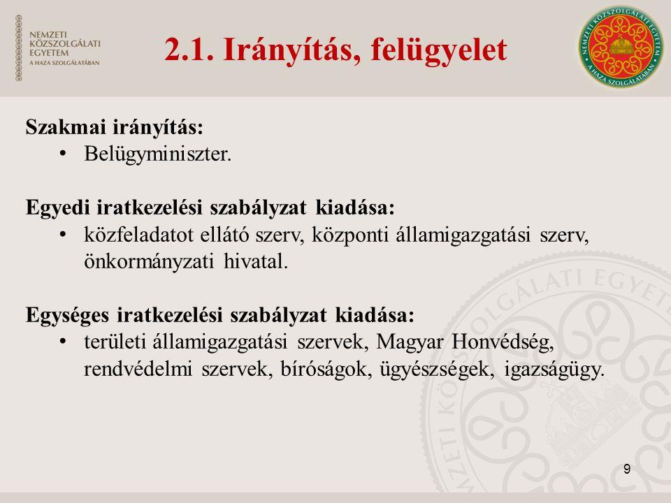 2.1. Irányítás, felügyelet Szakmai irányítás: Belügyminiszter. Egyedi iratkezelési szabályzat kiadása: közfeladatot ellátó szerv, központi államigazga