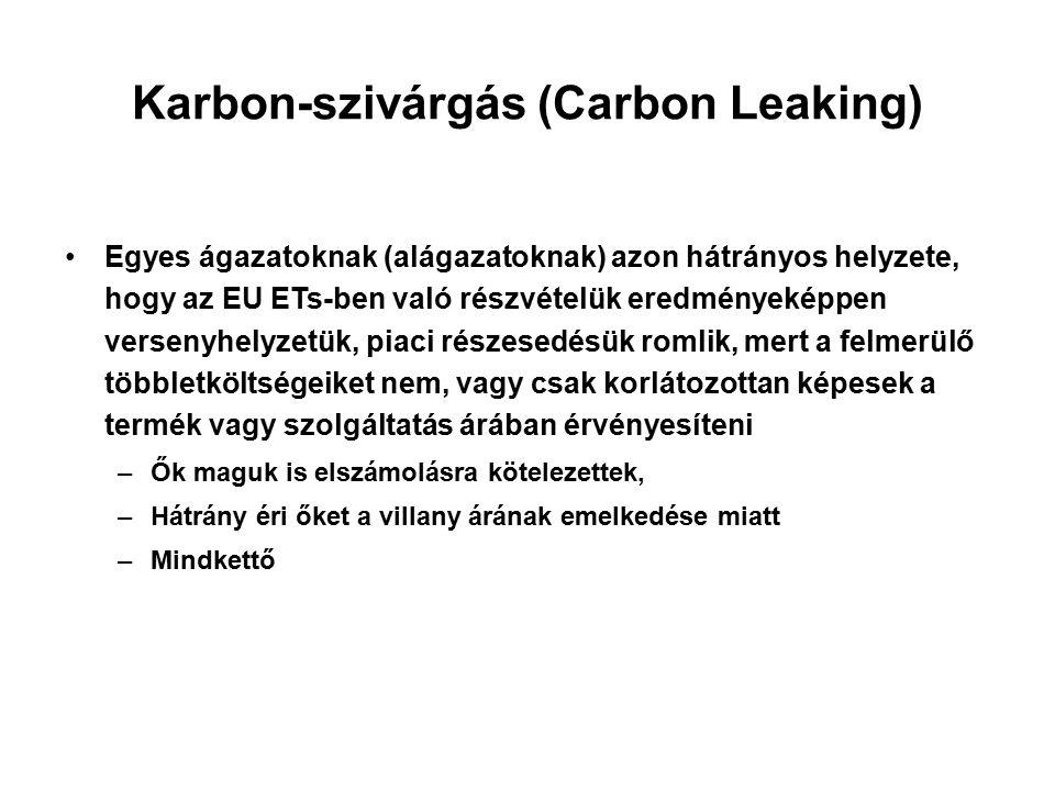 Karbon-szivárgás (Carbon Leaking) Egyes ágazatoknak (alágazatoknak) azon hátrányos helyzete, hogy az EU ETs-ben való részvételük eredményeképpen versenyhelyzetük, piaci részesedésük romlik, mert a felmerülő többletköltségeiket nem, vagy csak korlátozottan képesek a termék vagy szolgáltatás árában érvényesíteni –Ők maguk is elszámolásra kötelezettek, –Hátrány éri őket a villany árának emelkedése miatt –Mindkettő