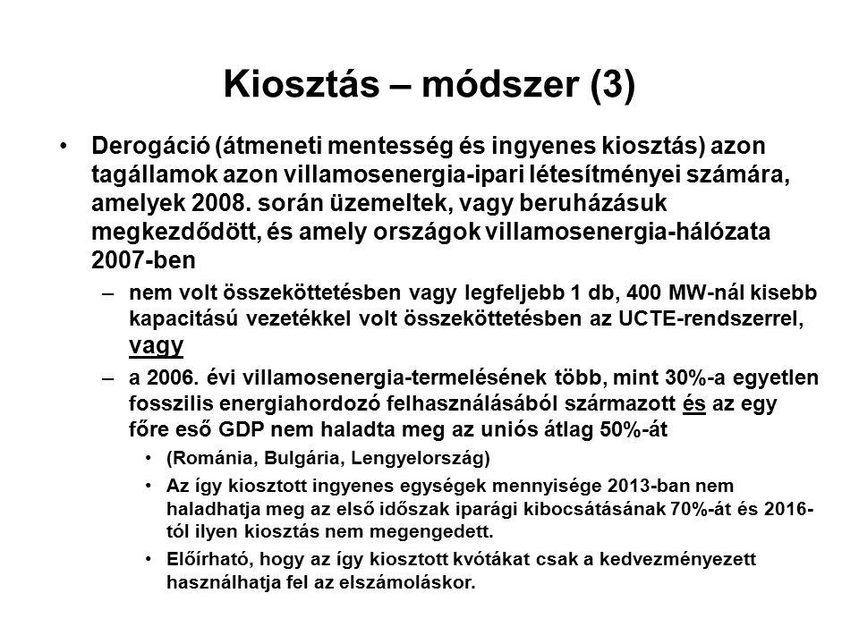 Kiosztás – módszer (3) Derogáció (átmeneti mentesség és ingyenes kiosztás) azon tagállamok azon villamosenergia-ipari létesítményei számára, amelyek 2008.