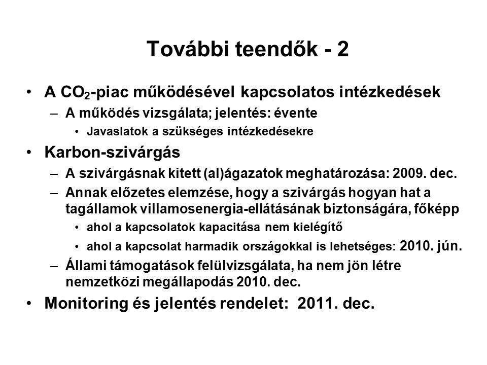 További teendők - 2 A CO 2 -piac működésével kapcsolatos intézkedések –A működés vizsgálata; jelentés: évente Javaslatok a szükséges intézkedésekre Karbon-szivárgás –A szivárgásnak kitett (al)ágazatok meghatározása: 2009.