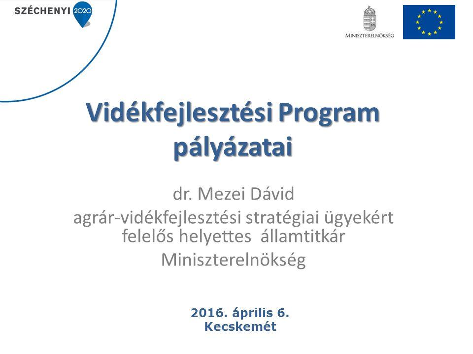 12 Támogatási keret: 19,7 milliárd Ft Támogatási kérelmek benyújtásának első szakasza: 2016.