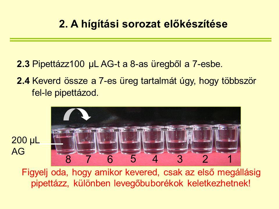 2.5 A 7-es üregből pipettázz 100 µL-t a 6-os üregbe.