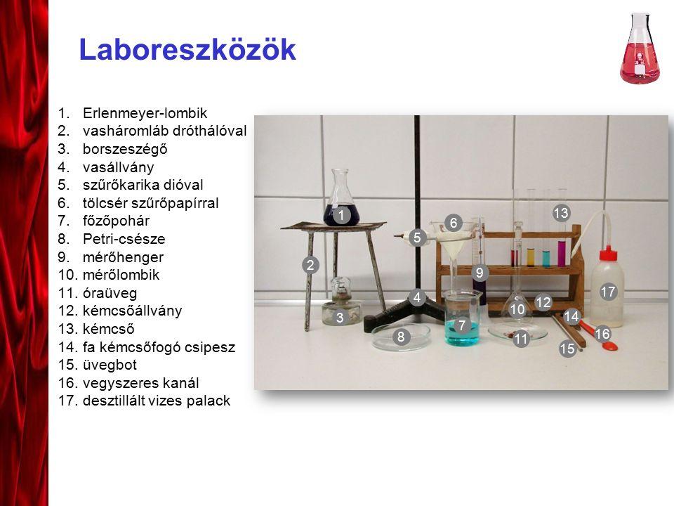 Laboreszközök 1.Erlenmeyer-lombik 2.vasháromláb dróthálóval 3.borszeszégő 4.vasállvány 5.szűrőkarika dióval 6.tölcsér szűrőpapírral 7.főzőpohár 8.Petr