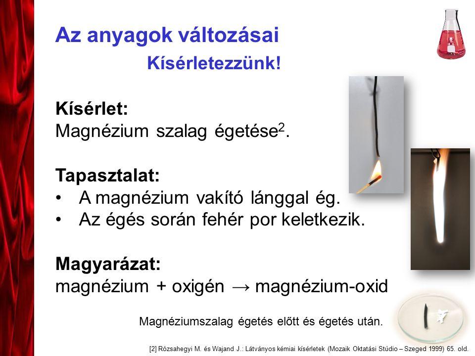 Az anyagok változásai Kísérlet: Magnézium szalag égetése 2.