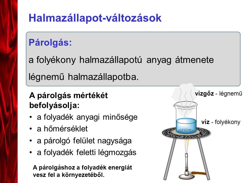 Halmazállapot-változások Párolgás: a folyékony halmazállapotú anyag átmenete légnemű halmazállapotba. A párolgáshoz a folyadék energiát vesz fel a kör