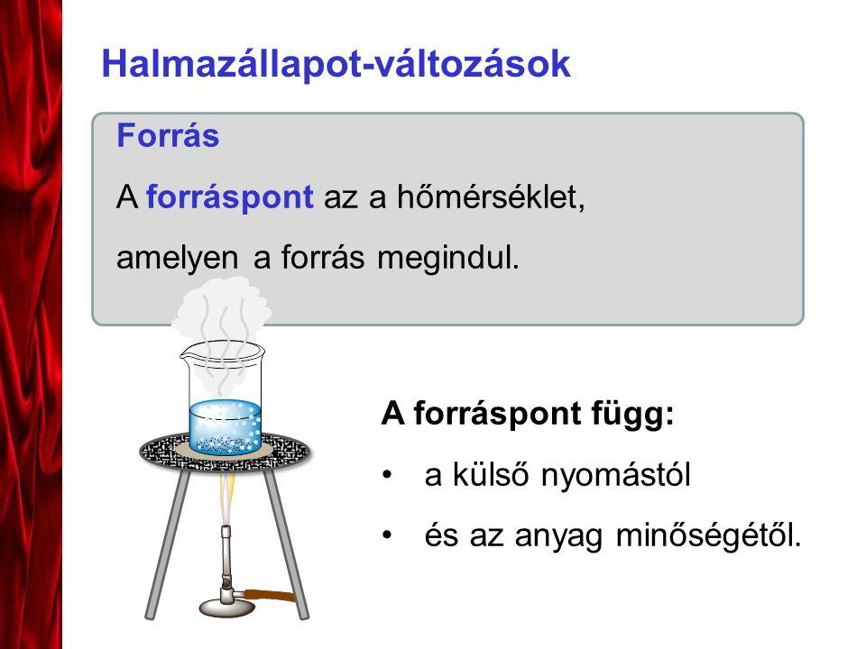 Halmazállapot-változások Forrás A forráspont az a hőmérséklet, amelyen a forrás megindul.