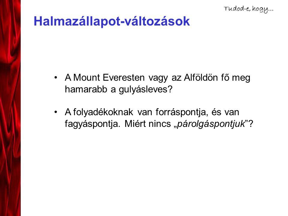 Halmazállapot-változások Tudod-e, hogy… A Mount Everesten vagy az Alföldön fő meg hamarabb a gulyásleves.