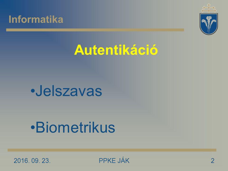 Autentikáció 2016. 09. 23.2PPKE JÁK Informatika Jelszavas Biometrikus