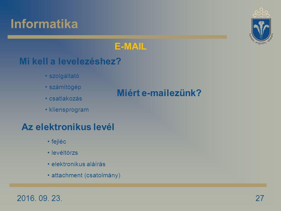 2016. 09. 23.27 Miért e-mailezünk. Mi kell a levelezéshez.