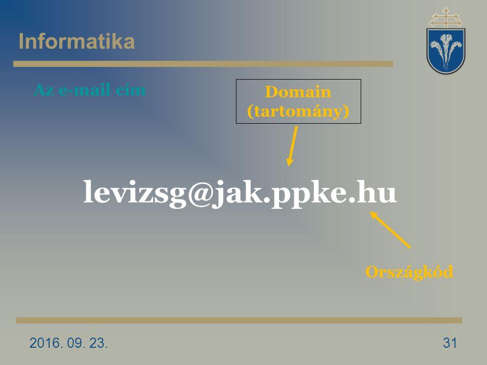 2016. 09. 23.31 Domain (tartomány) levizsg@jak.ppke.hu Országkód Az e-mail cím Informatika