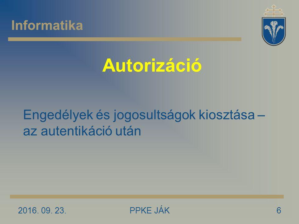Autorizáció 2016. 09.