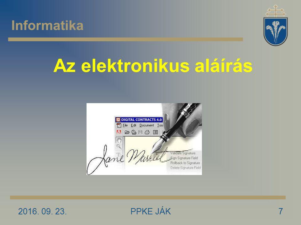 Az elektronikus aláírás 2016. 09. 23.7PPKE JÁK Informatika