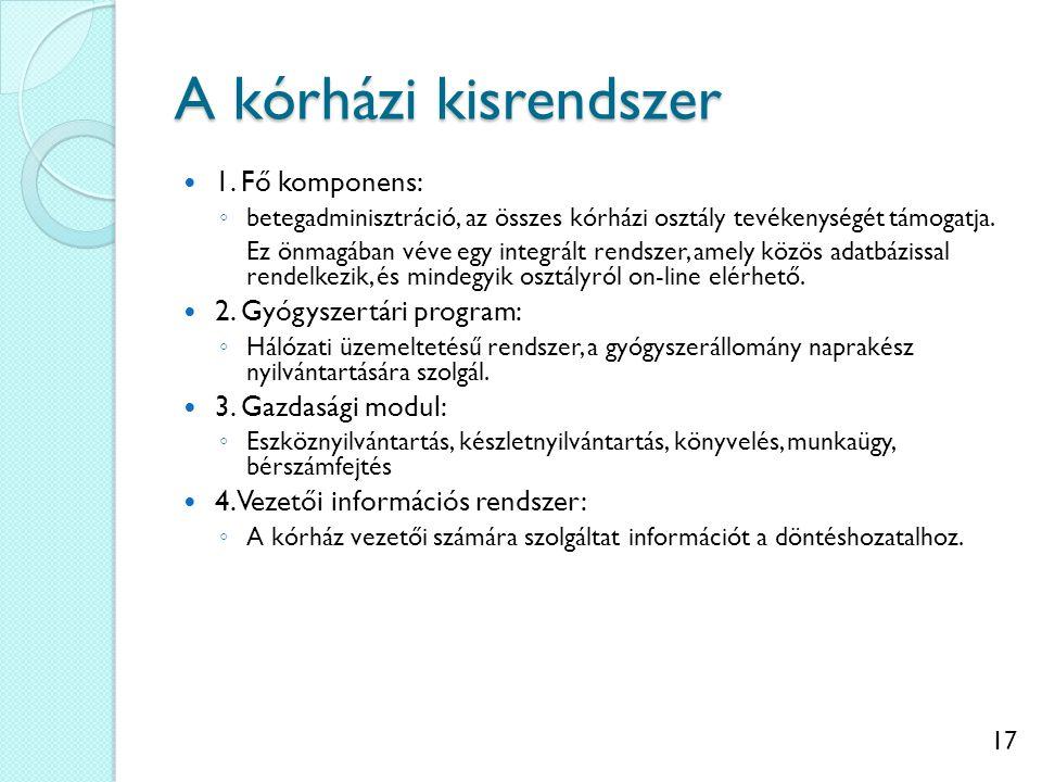 17 A kórházi kisrendszer 1. Fő komponens: ◦ betegadminisztráció, az összes kórházi osztály tevékenységét támogatja. Ez önmagában véve egy integrált re