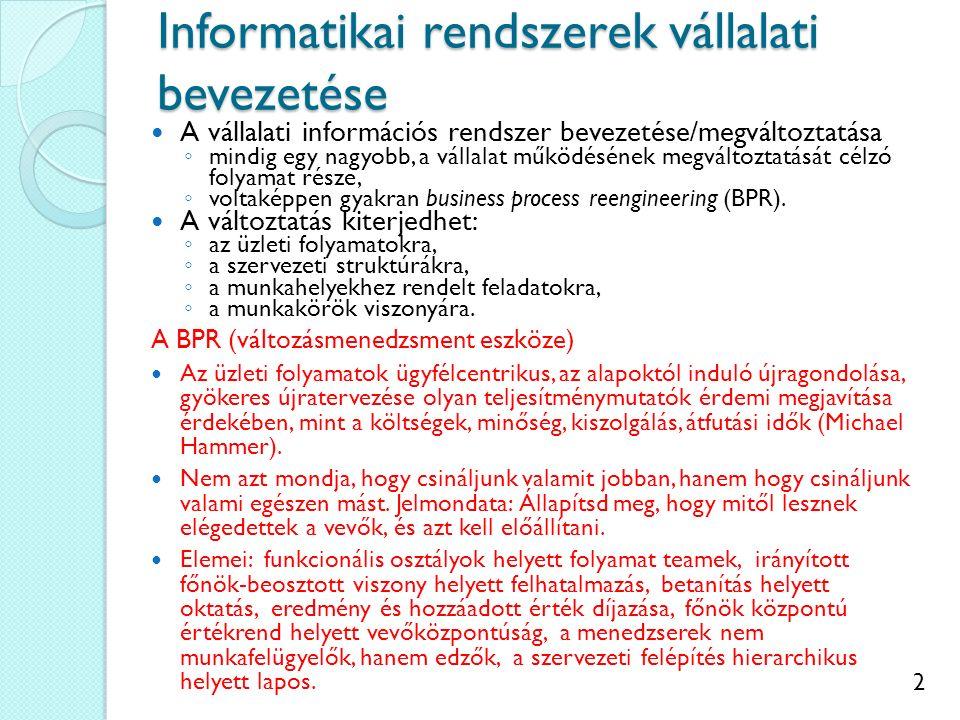 2 Informatikai rendszerek vállalati bevezetése A vállalati információs rendszer bevezetése/megváltoztatása ◦ mindig egy nagyobb, a vállalat működéséne