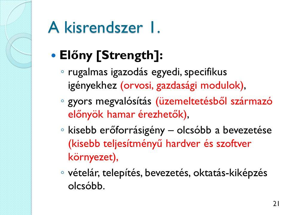 21 A kisrendszer 1. Előny [Strength]: ◦ rugalmas igazodás egyedi, specifikus igényekhez (orvosi, gazdasági modulok), ◦ gyors megvalósítás (üzemeltetés