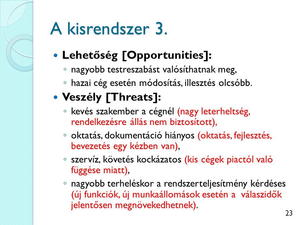 23 A kisrendszer 3. Lehetőség [Opportunities]: ◦ nagyobb testreszabást valósíthatnak meg, ◦ hazai cég esetén módosítás, illesztés olcsóbb. Veszély [Th