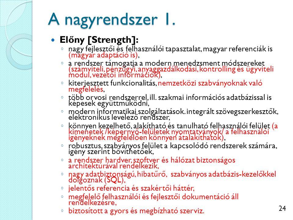 24 A nagyrendszer 1. Előny [Strength]: ◦ nagy fejlesztői és felhasználói tapasztalat, magyar referenciák is (magyar adaptáció is), ◦ a rendszer támoga