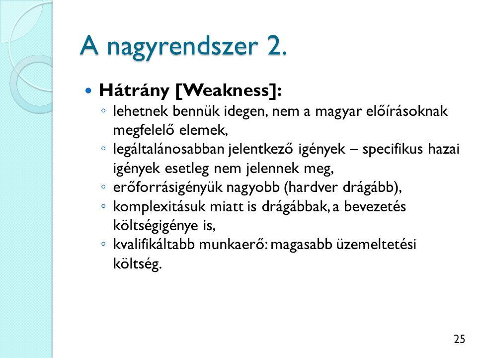 25 A nagyrendszer 2. Hátrány [Weakness]: ◦ lehetnek bennük idegen, nem a magyar előírásoknak megfelelő elemek, ◦ legáltalánosabban jelentkező igények