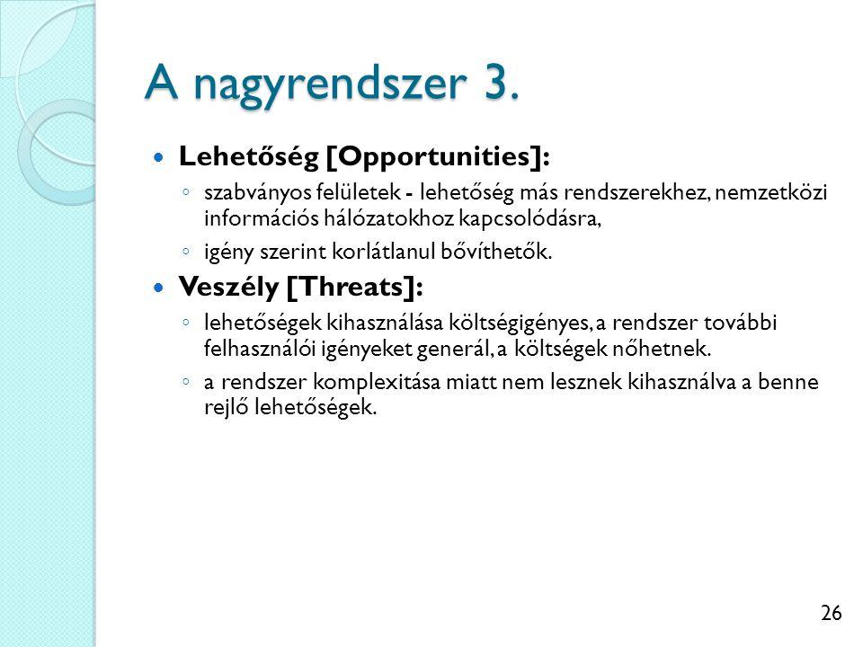26 A nagyrendszer 3. Lehetőség [Opportunities]: ◦ szabványos felületek - lehetőség más rendszerekhez, nemzetközi információs hálózatokhoz kapcsolódásr