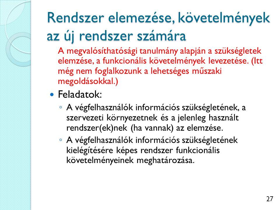 27 Rendszer elemezése, követelmények az új rendszer számára A megvalósíthatósági tanulmány alapján a szükségletek elemzése, a funkcionális követelmény