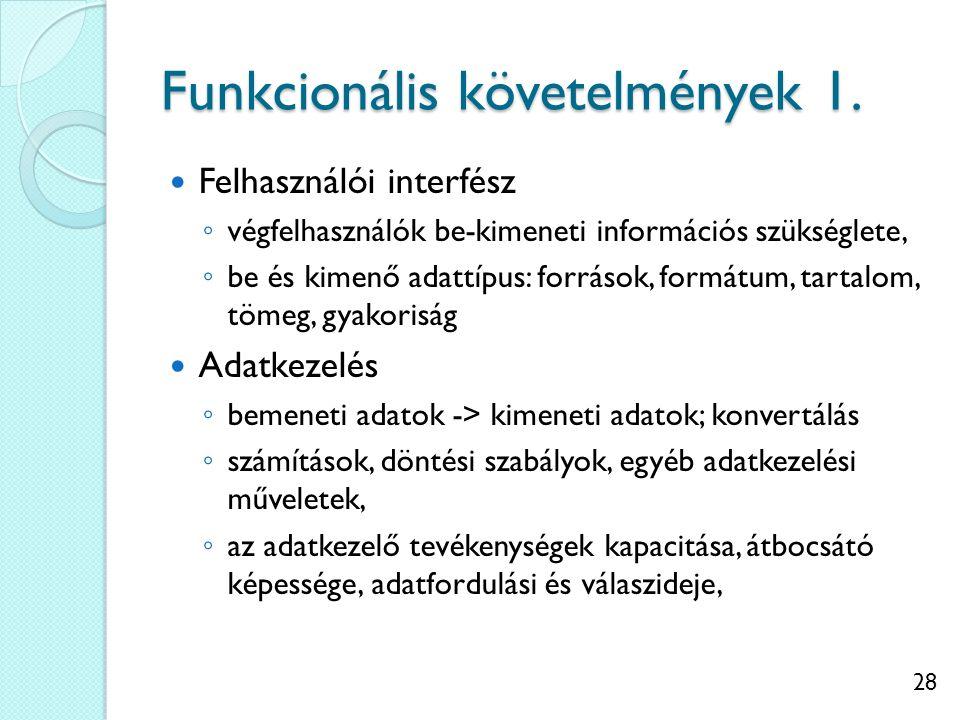 28 Funkcionális követelmények 1. Felhasználói interfész ◦ végfelhasználók be-kimeneti információs szükséglete, ◦ be és kimenő adattípus: források, for
