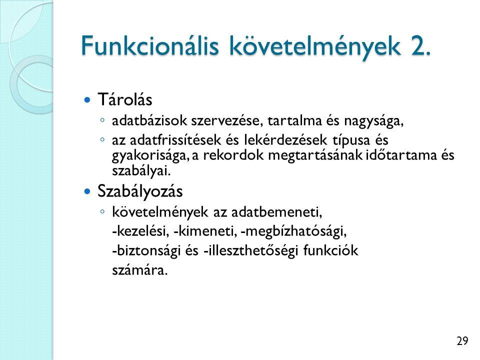 29 Funkcionális követelmények 2. Tárolás ◦ adatbázisok szervezése, tartalma és nagysága, ◦ az adatfrissítések és lekérdezések típusa és gyakorisága, a