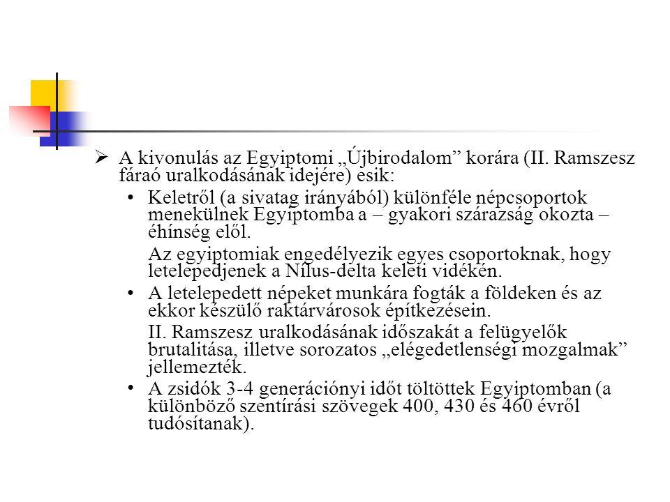 2.A kivonulás eseménye és értelmezése  A kivonulás vezetője: Mózes.