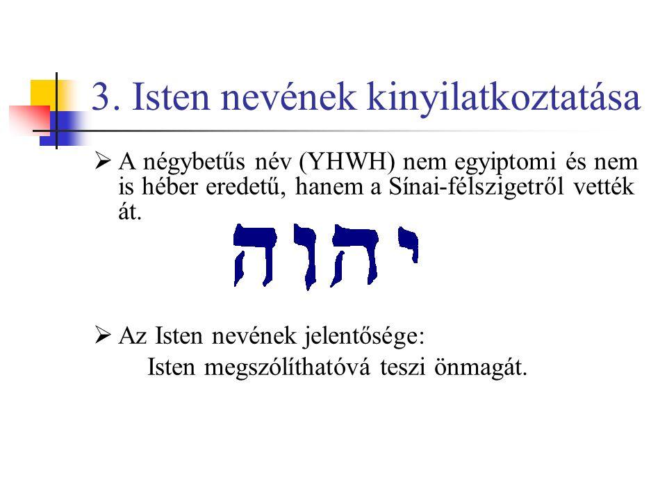 """ Isten nevének jelentése: Isten úgy mutatkozik be: """"Vagyok, aki vagyok. Maga a héber kifejezés sok mindent jelenthet: lenni, cselekedni, valakivel lenni."""