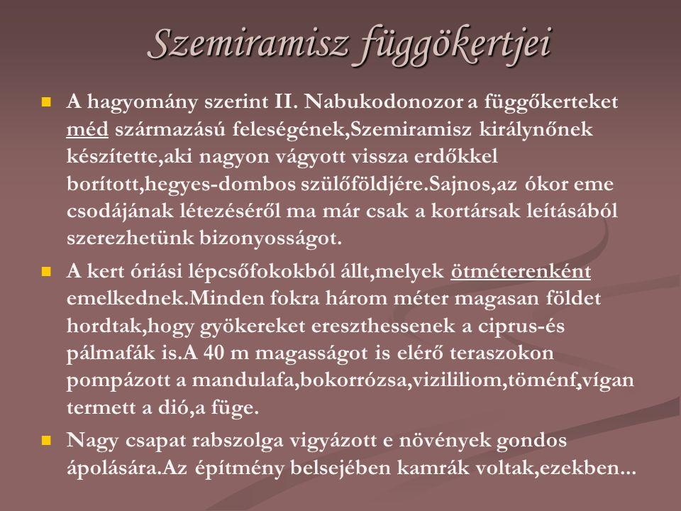 Szemiramisz függökertjei A hagyomány szerint II. Nabukodonozor a függőkerteket méd származású feleségének,Szemiramisz királynőnek készítette,aki nagyo