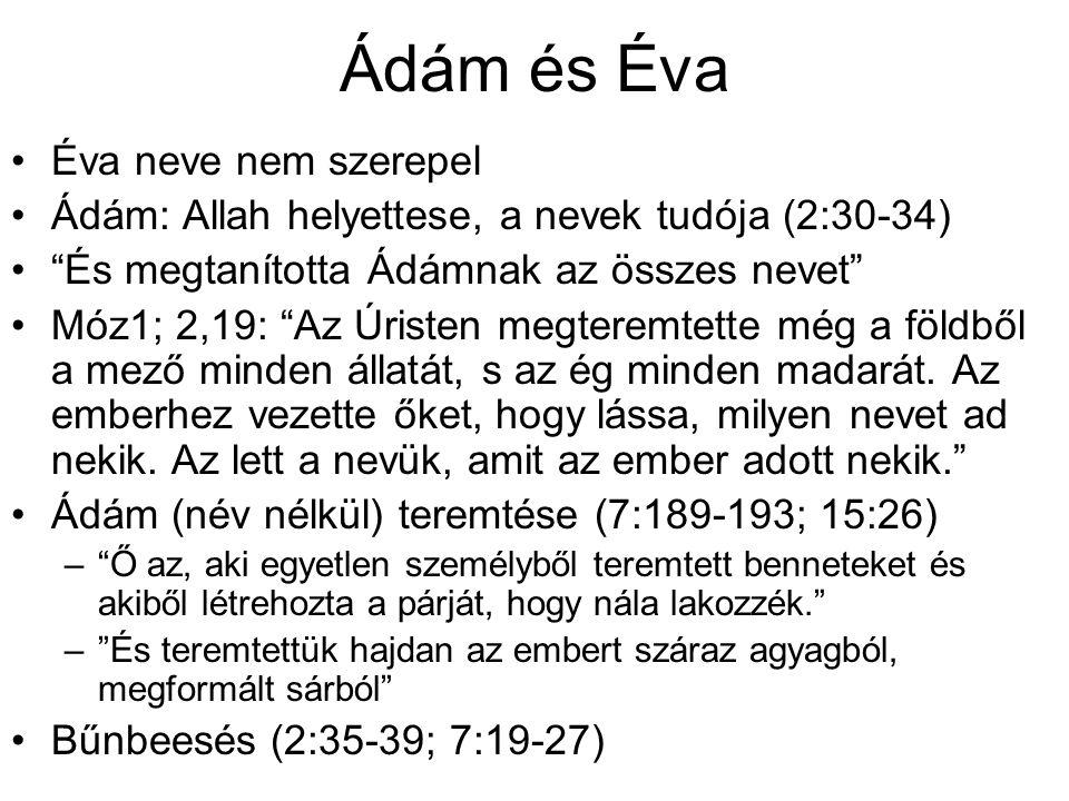 Ádám és Éva Éva neve nem szerepel Ádám: Allah helyettese, a nevek tudója (2:30-34) És megtanította Ádámnak az összes nevet Móz1; 2,19: Az Úristen megteremtette még a földből a mező minden állatát, s az ég minden madarát.