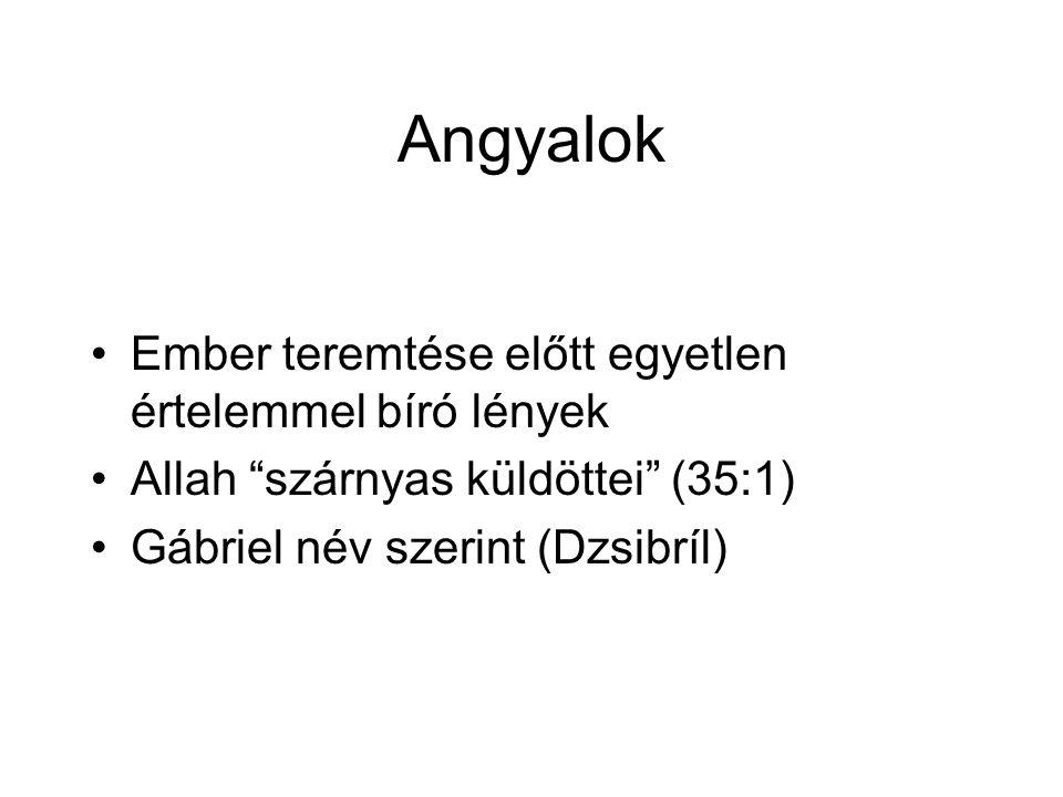 Angyalok Ember teremtése előtt egyetlen értelemmel bíró lények Allah szárnyas küldöttei (35:1) Gábriel név szerint (Dzsibríl)
