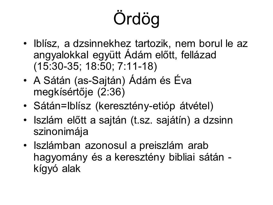 Ördög Iblísz, a dzsinnekhez tartozik, nem borul le az angyalokkal együtt Ádám előtt, fellázad (15:30-35; 18:50; 7:11-18) A Sátán (as-Sajtán) Ádám és Éva megkísértője (2:36) Sátán=Iblísz (keresztény-etióp átvétel) Iszlám előtt a sajtán (t.sz.