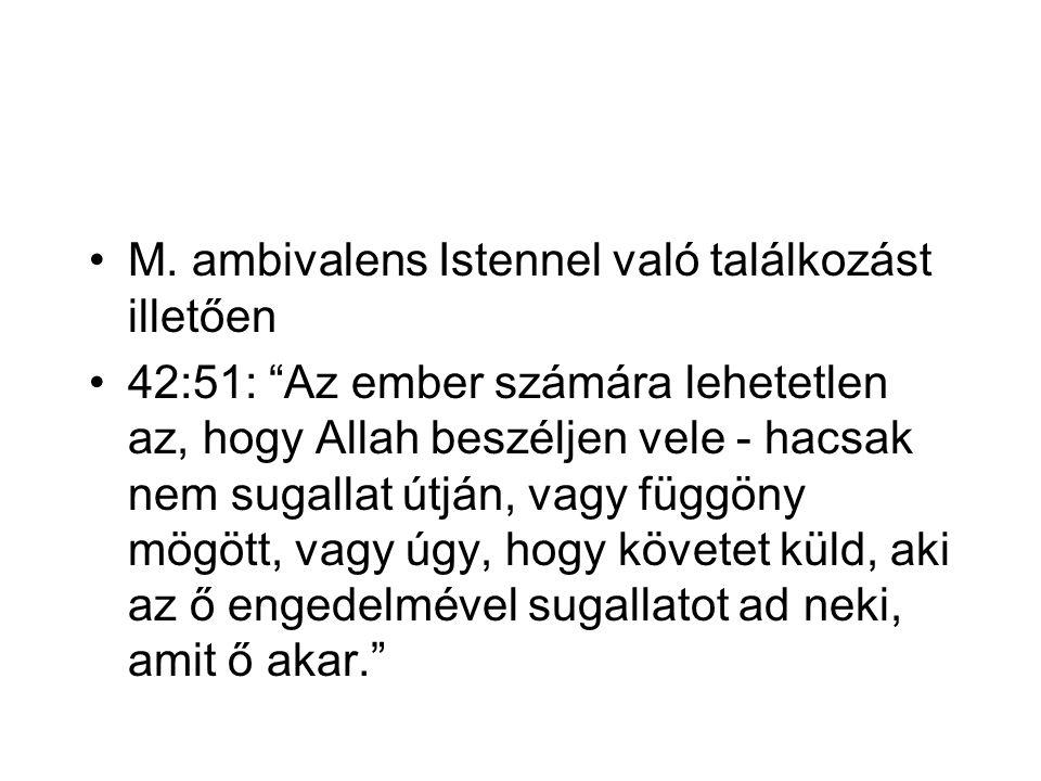 """M. ambivalens Istennel való találkozást illetően 42:51: """"Az ember számára lehetetlen az, hogy Allah beszéljen vele - hacsak nem sugallat útján, vagy f"""