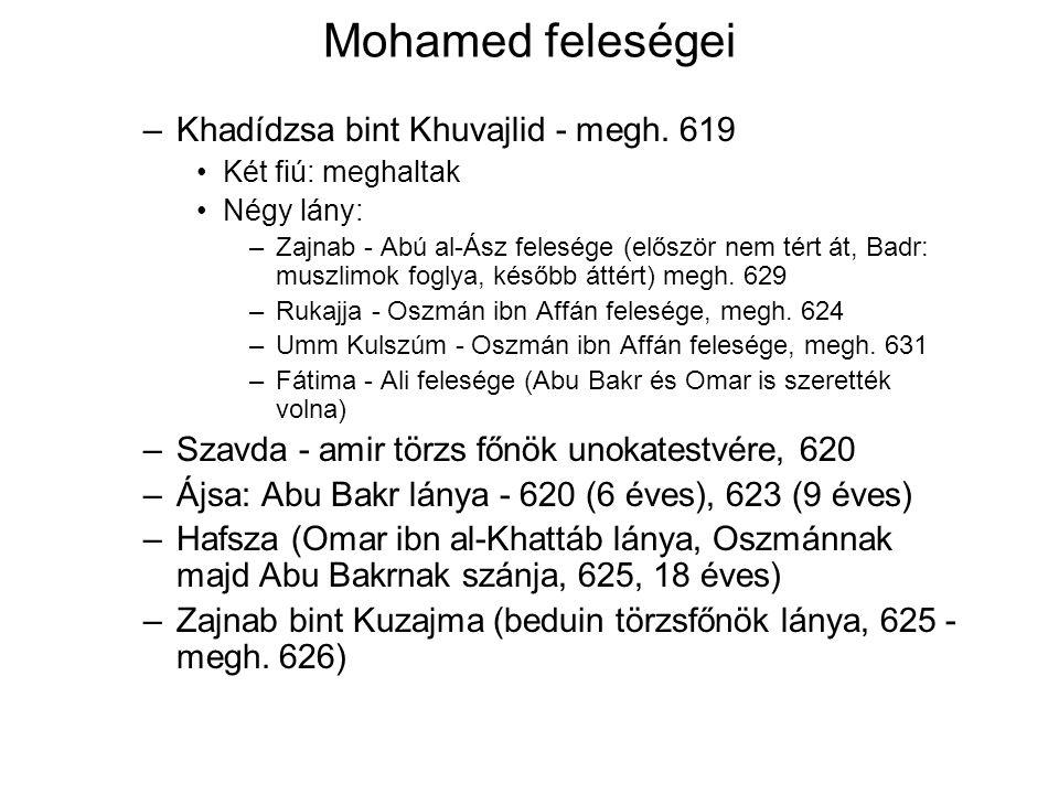 Mohamed feleségei –Khadídzsa bint Khuvajlid - megh.