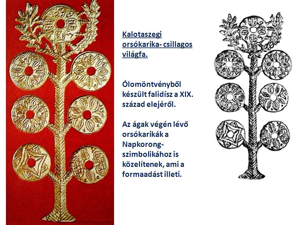 Kalotaszegi orsókarika- csillagos világfa. Ólomöntvényből készült falidísz a XIX. század elejéről. Az ágak végén lévő orsókarikák a Napkorong- szimbol