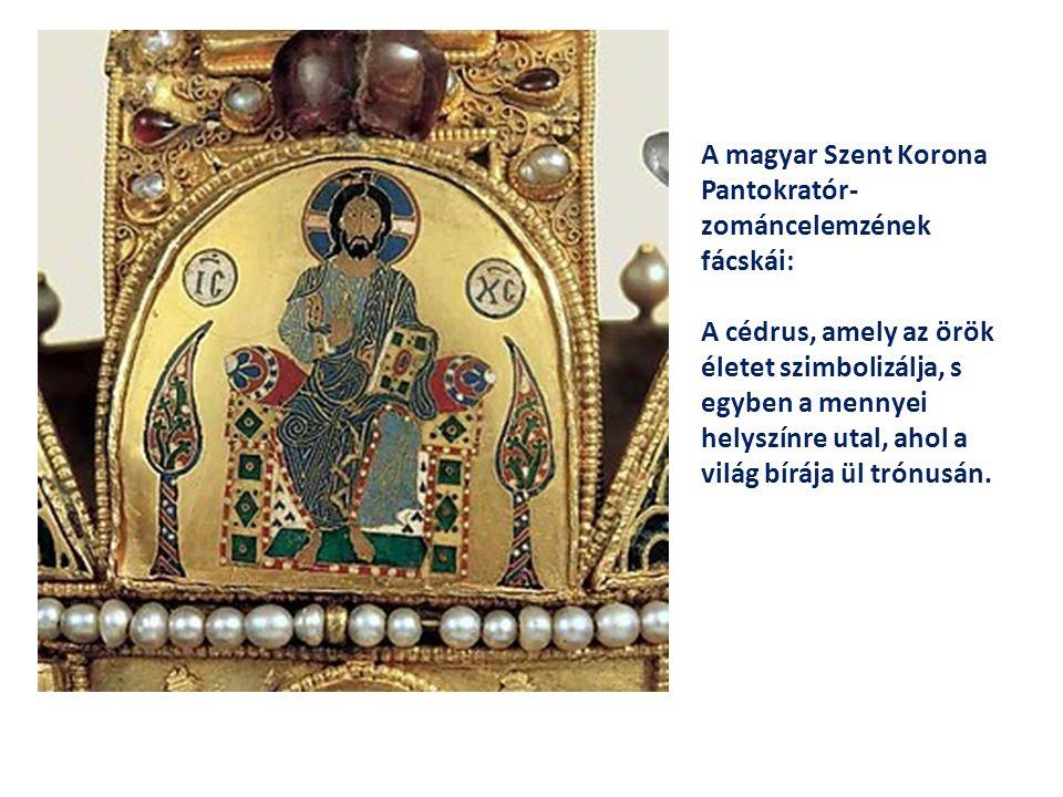 A magyar Szent Korona Pantokratór- zománcelemzének fácskái: A cédrus, amely az örök életet szimbolizálja, s egyben a mennyei helyszínre utal, ahol a v