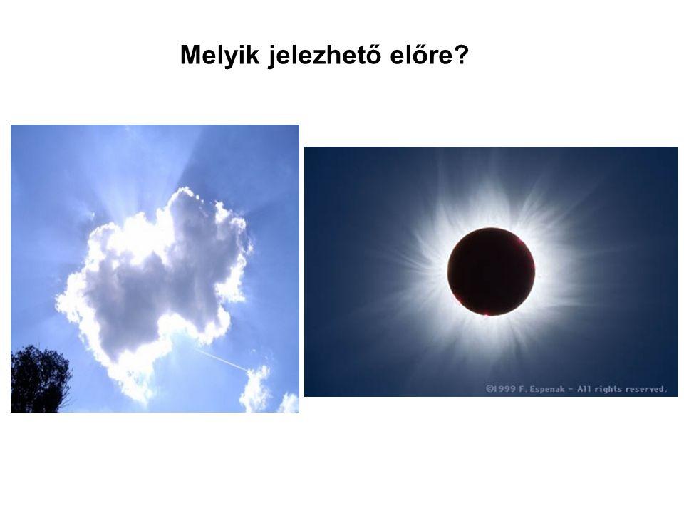 Vajon melyiket tudjuk könnyebben megjósolni? A napot holnap eltakaró felhőt, vagy a Napot száz év múlva eltakaró Holdat? Melyik jelezhető előre?