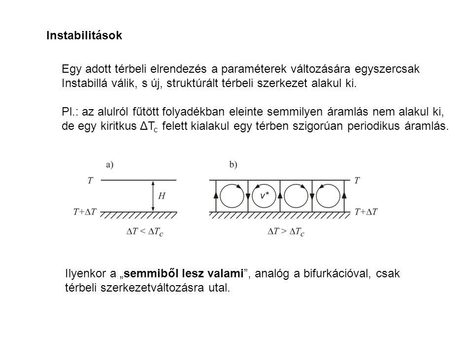 Instabilitások Egy adott térbeli elrendezés a paraméterek változására egyszercsak Instabillá válik, s új, struktúrált térbeli szerkezet alakul ki. Pl.