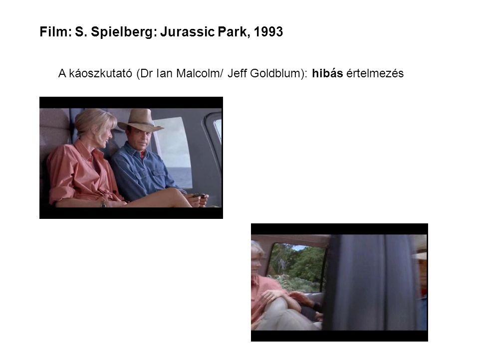 Film: S. Spielberg: Jurassic Park, 1993 A káoszkutató (Dr Ian Malcolm/ Jeff Goldblum): hibás értelmezés