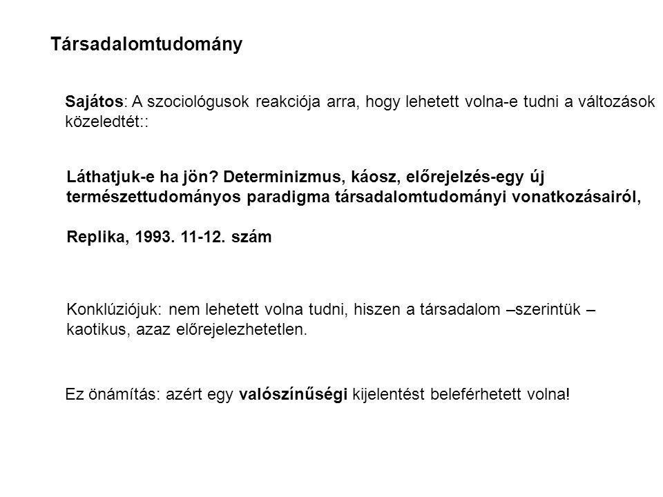 Láthatjuk-e ha jön? Determinizmus, káosz, előrejelzés-egy új természettudományos paradigma társadalomtudományi vonatkozásairól, Replika, 1993. 11-12.