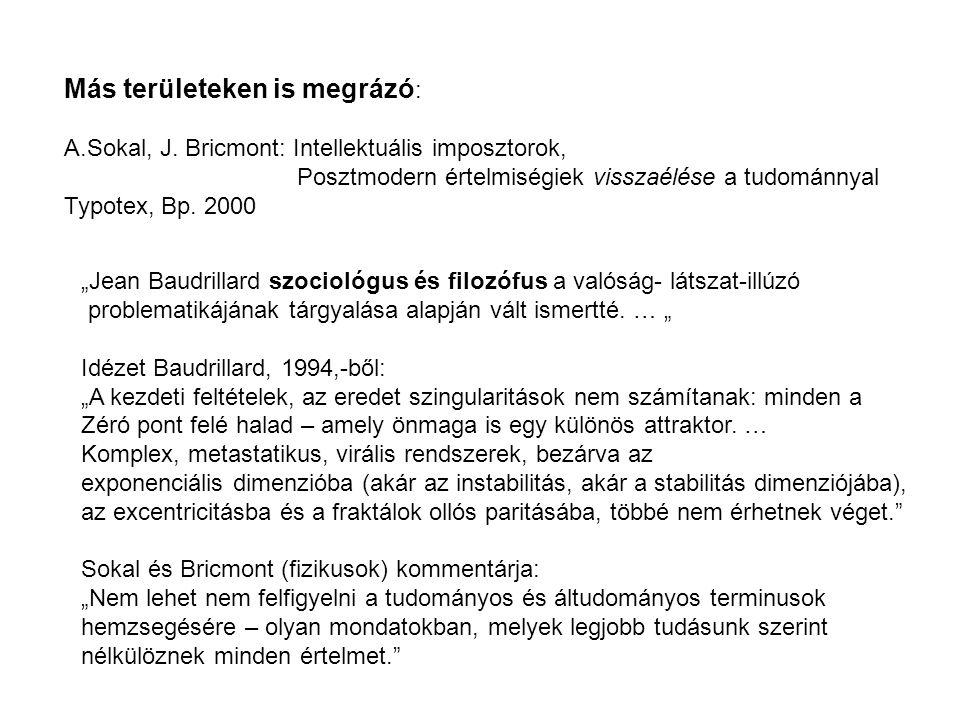 """Más területeken is megrázó : A.Sokal, J. Bricmont: Intellektuális imposztorok, Posztmodern értelmiségiek visszaélése a tudománnyal Typotex, Bp. 2000 """""""