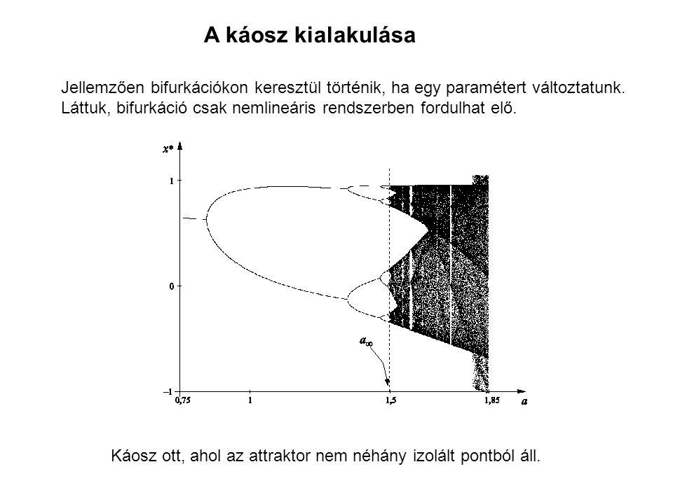 A káosz kialakulása Jellemzően bifurkációkon keresztül történik, ha egy paramétert változtatunk. Láttuk, bifurkáció csak nemlineáris rendszerben fordu